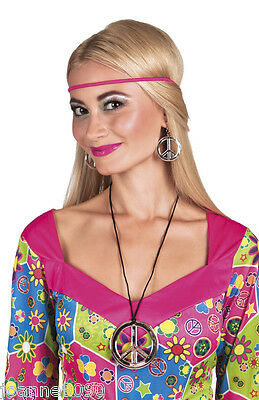 Hippie Hippy 60s 70s Peace Necklace & Earrings Fancy Dress Costume Accessory Set