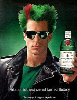 TANQUERAY English GIN Red and Green MOHAWK Liquor AD Advertisement 1988