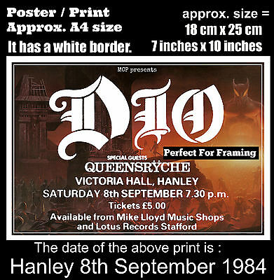 Ronnie James Dio live concert at Hanley 8th September 1984 A4 size poster print