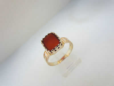 Antique Art Nouveau 14K Rose Gold Victorian Flat-Faced Carnelian Ring