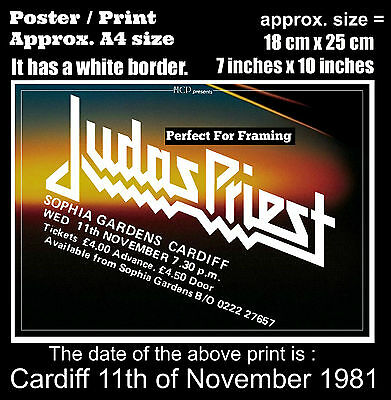 Judas Priest live concert at Cardiff 11th of November 1981 A4 size poster print