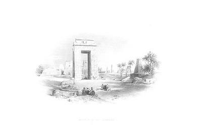 Ancient Egypt Karnak Luxor Temple Old Antique Art Print