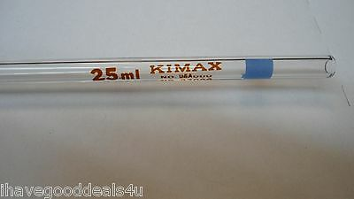 Kimax Safe Gard Lab Glass 37000 Volumetric Pipet 25ml NEW