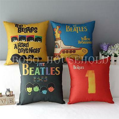 Vintage The Beatles Classic Throw Pillow Case Cotton Linen Room Cushion Cover