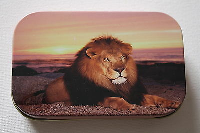"1oz Metal, Cigarette/Tobacco/Pills/Storage Hinged Tin, ""SUNSET LION"""