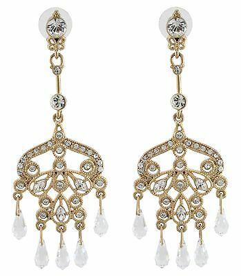 Zest Ornate Chandelier Clear Swarovski Crystal Pierced Earrings Golden