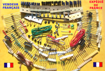 Lot de plus de 230 composants: Résistances, Condensateurs, Diodes, Transistors..