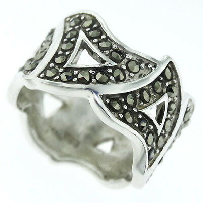 Antique Style Wide Band Crystal Stones Sterling Silver .925 Ladies Ring Size 5