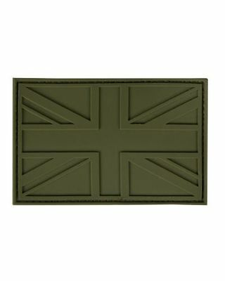Military Morale Subdued British Union Jack Flag PVC / Rubber Patch - OLIVE - New
