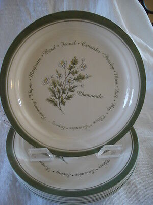 """8 Corelle Thymeless Herbs 8 1/2"""" Luncheon/Salad Plates Excellent"""