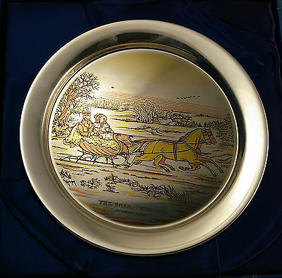Vintage Danbury Mint Sterling Silver 1972 Currier & Ives The Road Plate