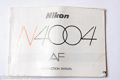 Nikon N4004 SLR 35mm Film Camera Manual Instruction Book - English - USED AC