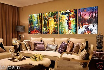 4 pcs Large canvas Modern Abstract Art Oil Painting Wall Art Decor (NO/FRAMES)