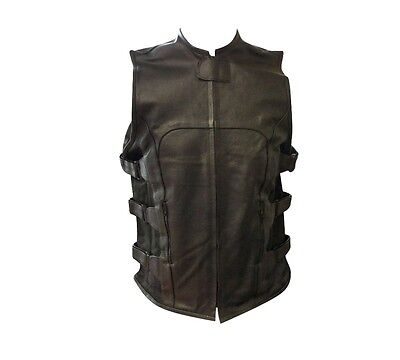 Men's Leather Swat Style Biker Motorcycle Vest With Soft Armor #452 New All Size
