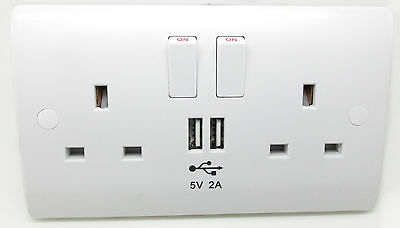 Twin Double Wall 2 Gang Plug Electric Socket Switched Outlet Box  With USB Ports