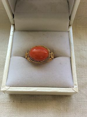 VINTAGE  CHINESE GILT STERLING SILVER FILIGREE CORAL  ADJUSTABLE RING