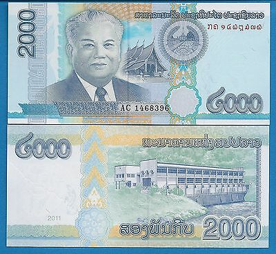 Laos P-33 2000 Kip Year 2011 Uncirculated Banknote Asia