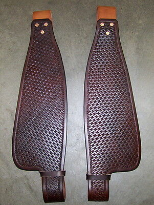 SADDLE REPLACEMENT FENDERS COMPLETE w/STIRRUP LEATHERS~~ADULT SIZE~~BASKET STAMP