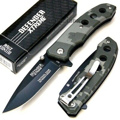 "7"" Military Camo Tactical Spring Assisted Open Pocket Knife Hunting 7677-U"