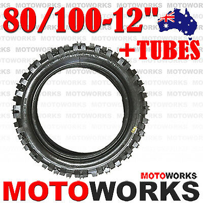 "80 / 100 - 12"" Inch Rear Knobby Tyre Tire + Tube 125CC PIT PRO Trail Dirt Bike"