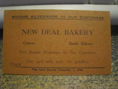 Free Rogers Silverware Card New Deal Bakery Canton SD 1938