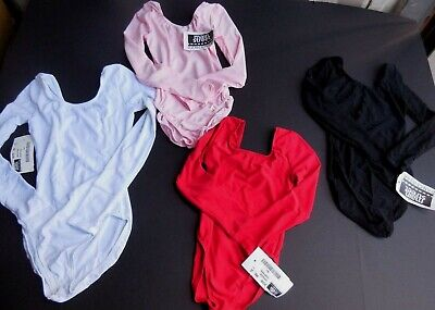 NWT Long sleeve Classic Nylon Lycra Leotard ch/ladies 4 colors offered Dance
