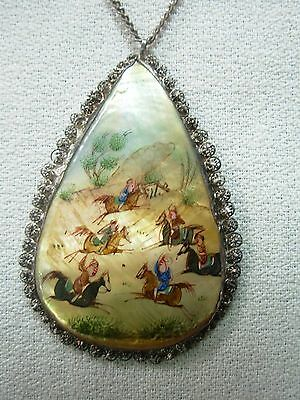 Antiq Persian Filigree Painted Mother Of Pearl Pendant Necklace W/ Men On Horses