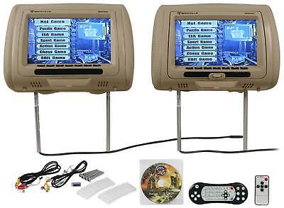 "New Rockville RDP931-BG 9"" Beige Car DVD/USB/HDMI Headrest Monitors+Video Games"