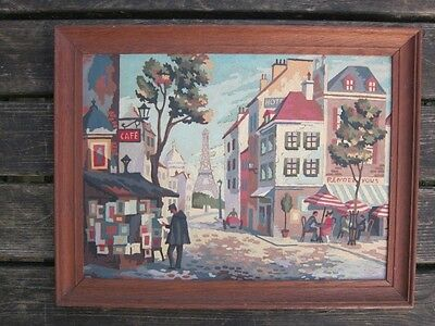 Vtg 70s Kitsch art Painting by Numbers Framed picture 60s Retro Paris Cafe old