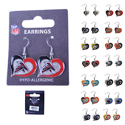Brand New Licensed NFL All Teams Swirl Heart Earring Dangle Charm Pick Your Team