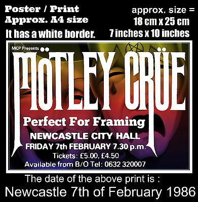 Motley Crue live concert at Newcastle 7th of February 1986 A4 size poster print