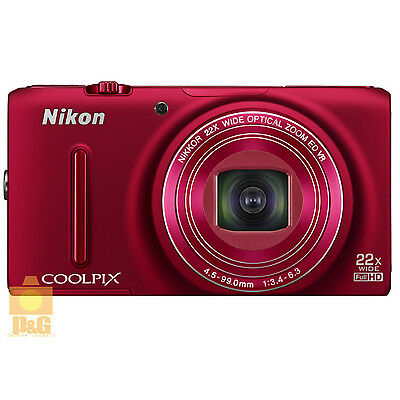 NEW BOXED NIKON COOLPIX S9500 GPS WIFI DIGITAL CAMERA RED