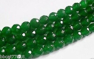 """AAA+++ 6mm Faceted Natural Green Emerald Loose Beads Gemstone 15"""""""