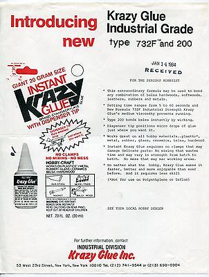 "1984 Vintage Sales Sheet: ""INTRODUCING NEW KRAZY GLUE INDUSTRIAL GRADE"""
