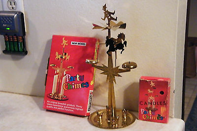 Vtg Swedish Brass Candle Chimes Horse Clown + Red Spiral Candles + Original Box