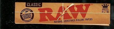 25 X PACKS RAW CLASSIC KING SIZE SLIM Natural Unrefined Cigarette Rolling Papers