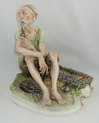 "Capodimonte Giuseppe Cappe Sculpture ""FISHERMAN SMOKING HIS PIPE"""
