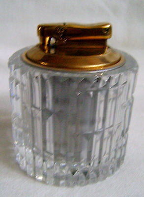 HAND CUT CRYSTAL COLIBRI TABLE LIGHTER - MADE IN ENGLAND, SIGNED - NO FUEL/FLINT