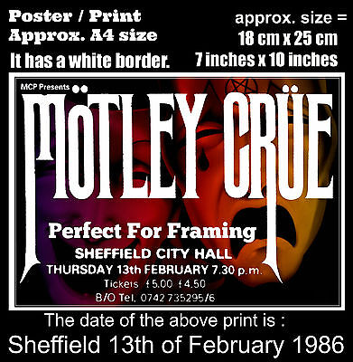 Motley Crue live concert at Sheffield 13th of February 1986 A4 size poster print