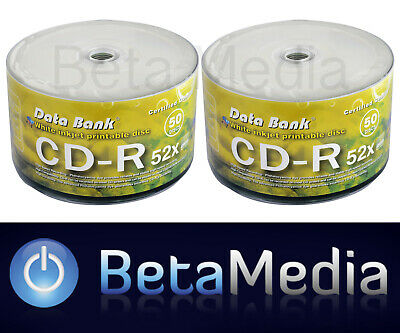 100 x Data Bank Blank CD -R 52X media Full White Hub Printable CDR