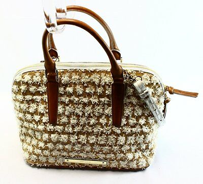 Brahmin NEW Brown Vivian White Bora Fringed Convertible Satchel Bag Purse $385-