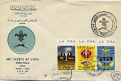 LIBYA SCOUTING, COVER BOY SCOUTS, TRIPOLI 1962, 3 STAMPS NOT INDENTED      m