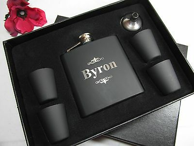 3 Personalized Flask Gift Sets Groomsman Best Man Wedding Engraved Pinstripes