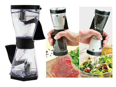 New Anika 2In1 One Handed Dual Action Salt & Pepper Grinder Mill Kitchen Cooking