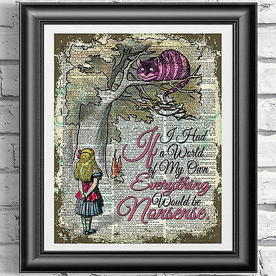 ART PRINT ORIGINAL ANTIQUE BOOK PAGE Cheshire Cat Alice in Wonderland Dictionary