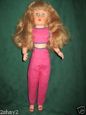 """VTG 1950-60 FASHION 20"""" DOLL SLEEPY EYES LONG THICK BLOND ROOTED HAIR HIGH HEELS"""