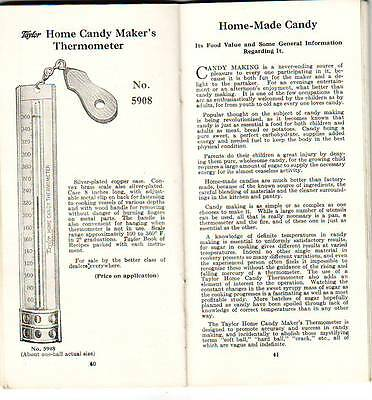 1926 NY ROCHESTER TAYLOR INSTRUMENT THERMOMETERS SUGAR METER RECIPES BOOKLET