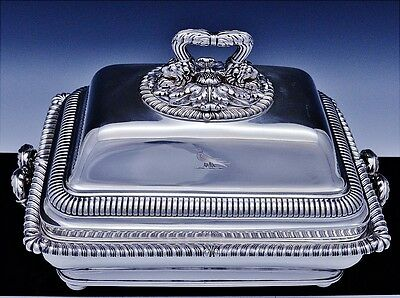 MUSEUM QUALITY 1810 GEORGIAN PAUL STORR STERLING SILVER ENTREE DISH w ORIG STAND