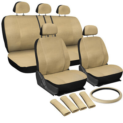 17PC SOLID beige / tan PU SYNTHETIC LEATHER SEAT COVERS SET for SUVS