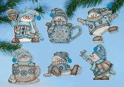 Design Works Cocoa Snowmen Christmas Ornaments Counted Cross Stitch Kit